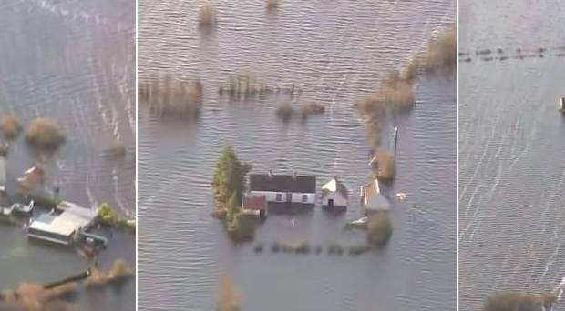 Aerial footage shows flooding in Athlone, Ireland. Pic Irish Defence Forces