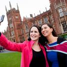 (L-R) Sisters Mary and Anne Marley from Portadown celebrate with a graduation selfie at Mary's graduation at Queen's University. Mary graduated with a MSc in Autism from Queen's School of Education.