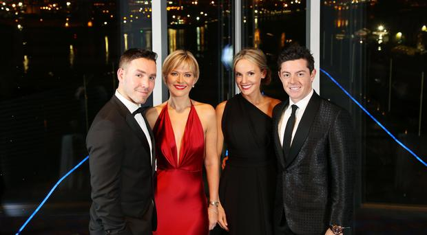 Paddy and Tina Wallace with Rory McIlroy and Erica Stoll at the event. Picture by Darren Kidd / Press Eye.