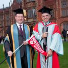 One of the one of the greatest Ryder Cup captains of all time is to be honoured at Queens University today (Thursday 10 December 2015). Paul McGinley will be presented with the degree of Doctor of the University in recognition of his distinction in sport Photographed with Paul is Professor Patrick JohnstonVice-Chancellor