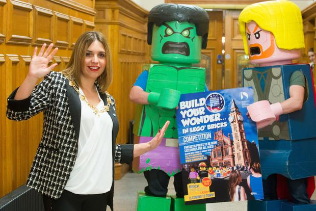 Derry and Strabane District Council Mayor, Councillor Elisha McCallion, proves it's cool to be square as she has a close encounter with the Hulk (Patrick Kealy) and Thor (Mark Doherty) in the Guildhall at the launch of the Lego Brick Wonders competition. Photo: Martin McKeown