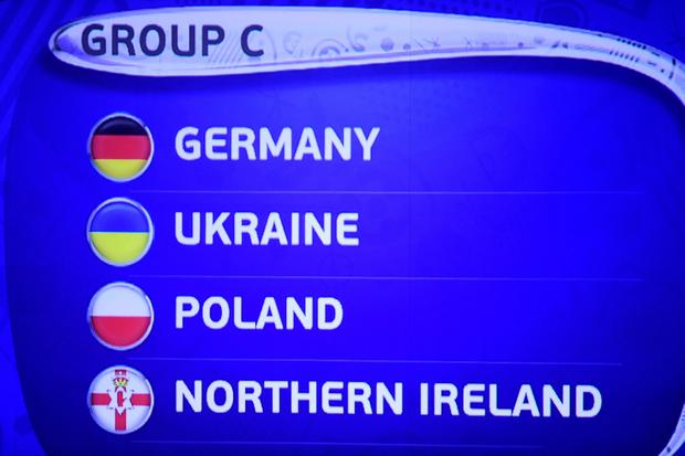 Germany, Ukraine, Poland and Norther Ireland are drawn in group C during the UEFA Euro 2016 draw in Paris, France. Adam Davy/PA Wire.