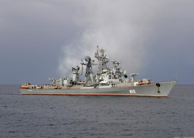 The Russian destroyer Smetlivy which fired warning shots at a Turkish vessel in the Aegean Sea.
