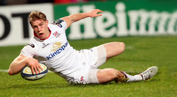 Touch down: Andrew Trimble scores a try against Toulouse