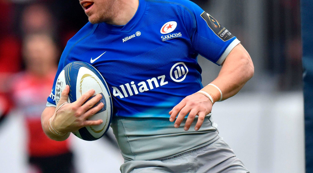 Trying hard: Chris Wyles touched down for Saracens
