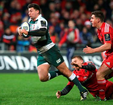 Touched down: Ben Youngs scores Leicster's third try against Munster