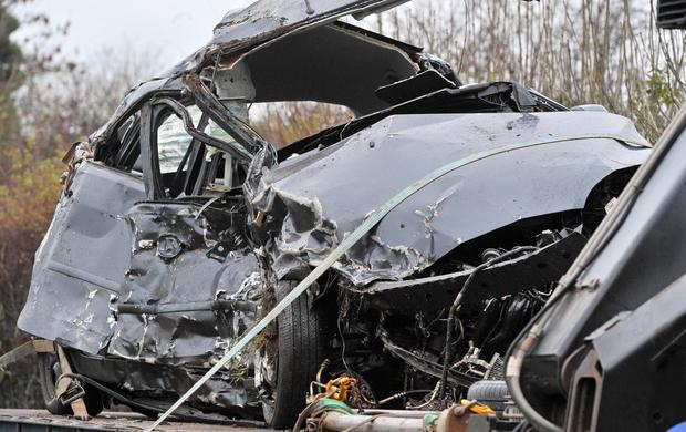 The remains of a Ford Focus which was involved in the accident