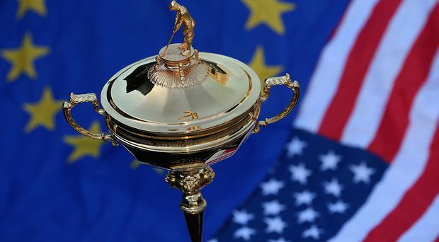 The Ryder Cup trophy as the five-man Ryder Cup panel meet to discuss the 2016 Ryder Cup Europe Captaincy at Wentworth on February 18, 2015 in Virginia Water, England. (Photo by Andrew Redington/Getty Images)