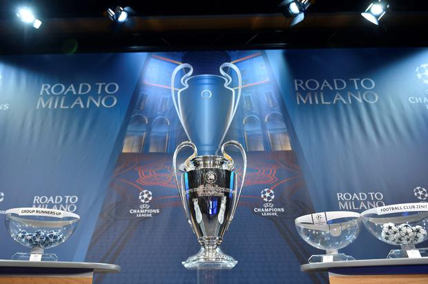 The UEFA Champions league trophy is displayed ahead of the draw for the UEFA Champions league round of sixteen, on December 14, 2015 at the European football organization's headquarters in Nyon. AFP PHOTO / FABRICE COFFRINIFABRICE COFFRINI/AFP/Getty Images
