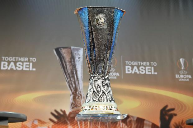 The UEFA Europa league trophy is displayed ahead of the draw for the UEFA Europa league round of sixteen, on December 14, 2015 at the European football organization's headquarters in Nyon. AFP PHOTO / FABRICE COFFRINIFABRICE COFFRINI/AFP/Getty Images