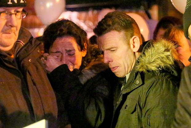 Chistopher's mother Vanessa Burke and father Christopher Meli Sr at the vigil (Photo by Kevin Scott / Presseye)
