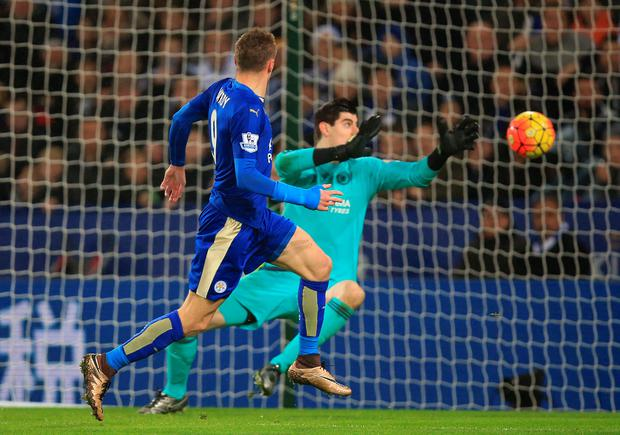 Leicester City's Jamie Vardy scores his side's first goal during the Barclays Premier League match at The King Power Stadium, Leicester.