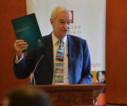 Veteran journalist and broadcaster Jon Snow launches the NI Human Rights Commission's annual statement yesterday at Stormont