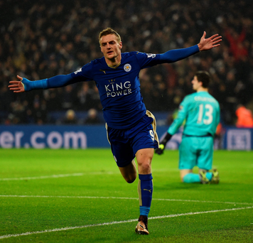 Joy: Jamie Vardy savours scoring in Leicester's 2-1 win over Chelsea