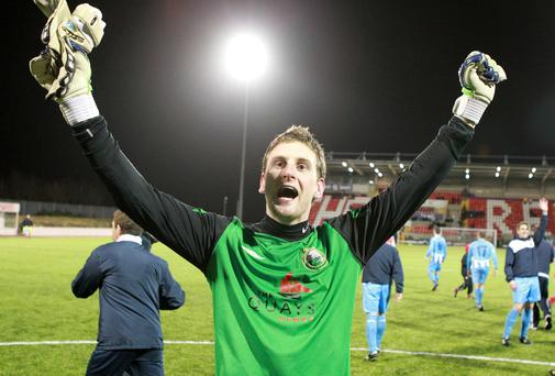 Spot on: Jonathan Parr celebrates Warrenpoint Town's Irish Cup win over Cliftonville back in 2011