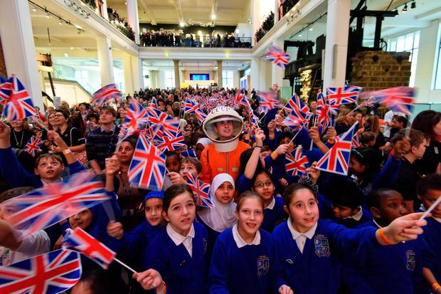 Schoolchildren at the London Science Museum watching the launch of space mission Principia (Photo by Ben Pruchnie/Getty Images)
