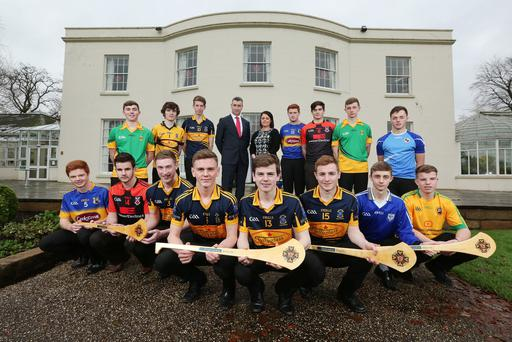 Press Eye - Belfast - Northern Ireland - 14th December 2015 Danske Bank Ulster CollegesÕ All Stars launch. Matthew McGleenan, Chairman of Ulster Colleges GAA and Brenda Kerr, Danske Bank with the Hurling All Stars. Picture by Kelvin Boyes / Press Eye.