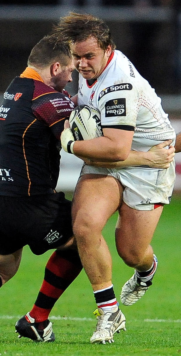 Kyle McCall on the charge for Ulster