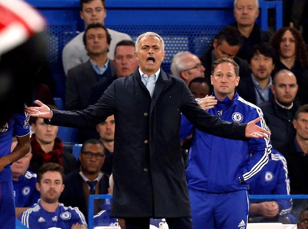 Giving off: Jose Mourinho criticised his Blues players and Leicester's ball boys for the latest loss, but won't accept blame himself