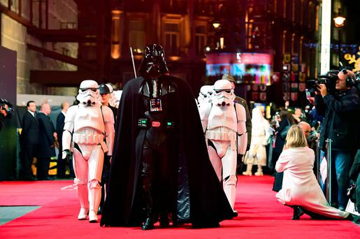 Darth Vader and Stormtroopers attending the Star Wars: The Force Awakens European Premiere held in Leicester Square, London. PA