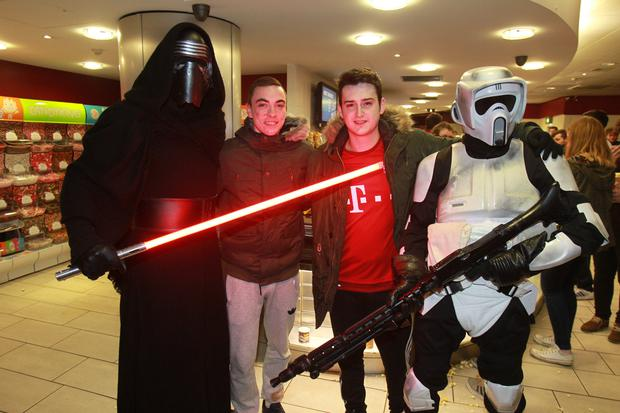 People out at the Moviehouse, Dublin Rd to see the midnight screening of Star Wars: The Force Awakens. Wednesday 16th Dec 2015. Liam McBurney/RAZORPIX