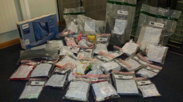 Suspected stolen goods recovered after the PSNI in Coleraine stopped a man carrying Santa sack. Image: PSNI/Facebook