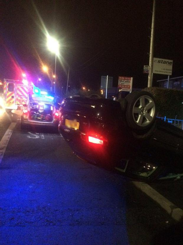 The Audi car landed on its roof in the incident.