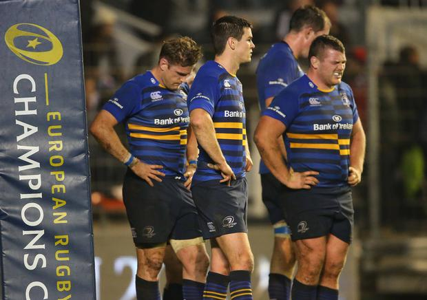 Euro agony: Leinster's Jamie Heaslip, Jonathan Sexton and Jack McGrath dejected at the final whistle in the defeat to Toulon