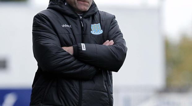 Looking on: Ballymena United boss Glenn Ferguson would happily be in Linfield's position