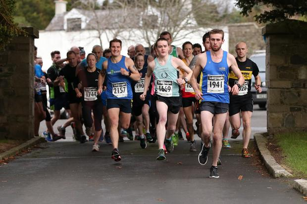 Run Forest Run Race - Saturday 19th December 2015 Tollymore Forest Park. Photograph By Declan Roughan Eventual Winner William	Mckee Newry	& Mourne Runners far right gets the race underway