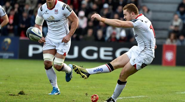 Getting his kicks: Paddy Jackson slots over a penalty during Ulster's triumph against Toulouse at the Stade Ernest Wallon
