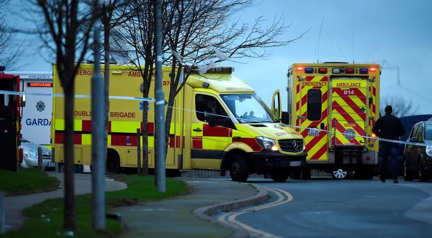 Emergency services at the scene in Tallaght, as a man in his forties has been arrested after a shooting incident in Dublin. Philip Fitzpatrick/PA Wire.