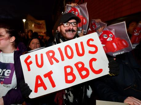 Lesbian, Gay, Bisexual and Transgender supporters protest at the BBC Sports Personality of the Year awards taking place at the SSE Arena on December 20, 2015 in Belfast, Northern Ireland in opposition to the addition of Tyson Fury to the shortlist.