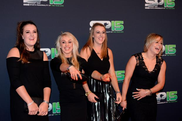 Jenny Jones and friends on the red carpet before the BBC Sports Personality of the Year award at Odyssey Arena on December 20, 2015 in Belfast, Northern Ireland.