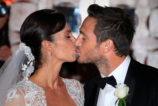 Christine Bleakley and Frank Lampard leave after their wedding at St Paul's Church in Knightsbridge, London.