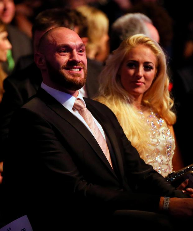 Tyson Fury and wife Paris before Sports Personality of the Year 2015 at the SSE Arena, Belfast.