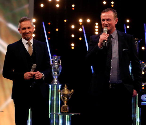 Proud man: Michael O'Neill, alongside presenter Gary Lineker, addresses the crowd at the ceremony