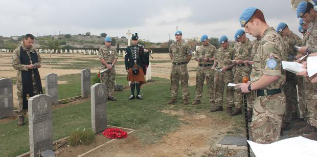 Royal Irish soldiers at the memorial service in Cyprus