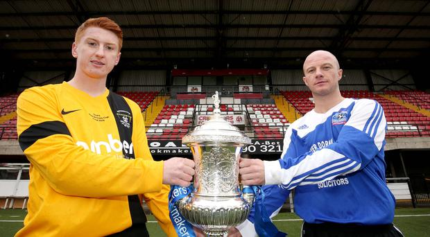 Albert Foundry's Paul McCord and Harland and Wolff Welders' Josh Cahoon pictured at Seaview ahead of the Steel and Sons final