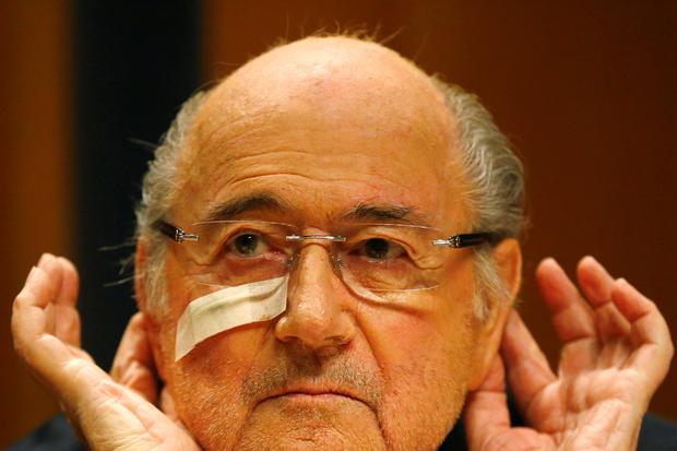 Suspended FIFA President Sepp Blatter attends a news conference in Zurich, Switzerland, Monday, Dec. 21, 2015 after he has been banned for 8 years from all football related activities. (AP Photo/Matthias Schrader)
