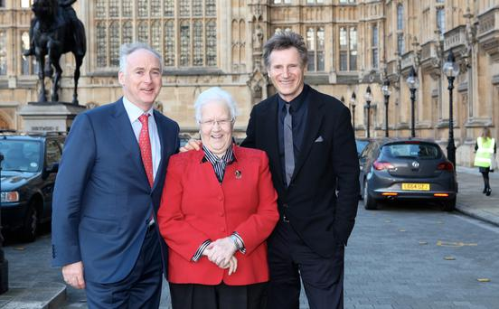 Liam Neeson met Baroness May Blood of the Integrated Education Fund and John Fitzpatrick from Fitzpatrick Hotels and chair of the American Ireland Fund, for lunch at the House of Lords in Westminster, where the actor pledged his continuing support for growing integrated education in Northern Ireland. Picture Anne Mullen