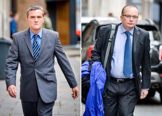 File photos of PCSO Andrew Passmore (left) and police constable Kevin Duffy of Avon and Somerset Police, who have been convicted of misconduct in a public office at Bristol Crown Court. PA