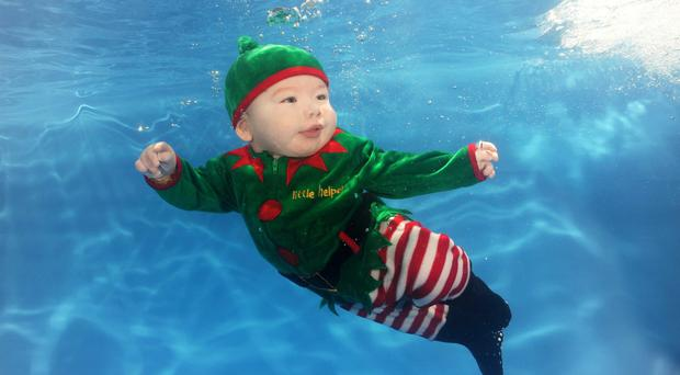 Leo West Hurst from Belfast enjoying his Water Babies class