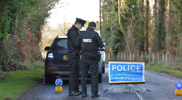 Pacemaker Press Belfast 23-12-2015: Two men seriously injured in Randalstown crash. Two men have been injured in a ÒseriousÓ road crash in Co Antrim. It happened on the Magheralane Road in Randalstown on Tuesday evening. Police said the men have been taken to hospital for treatment on injuries that have been described as serious. The road remains closed on Wednesday morning. Picture By: Pacemaker.