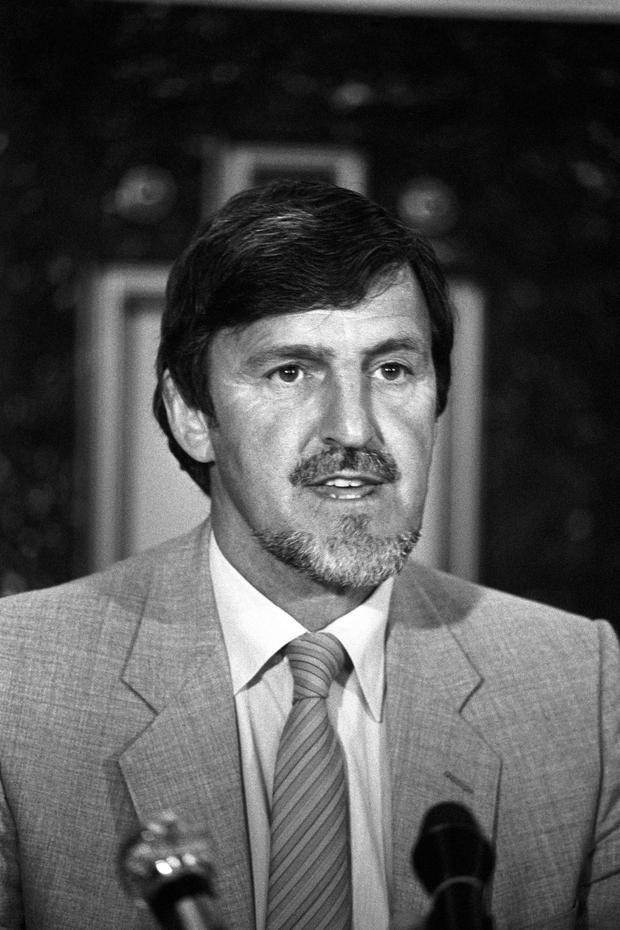 File photo dated 13/07/82 of footballer turned broadcaster Jimmy Hill, who has died at the age of 87 after suffering from Alzheimer's disease, his family said in a statement. PRESS ASSOCIATION Photo. Issue date: Saturday December 19, 2015. See PA story DEATH Hill. Photo credit should read: PA Wire