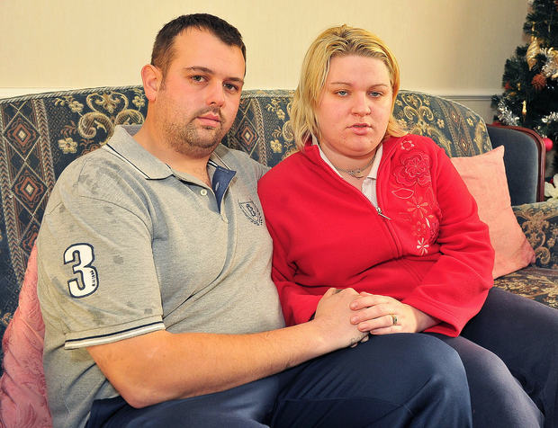 Andy and Rebecca Peden after the fire which left them homeless