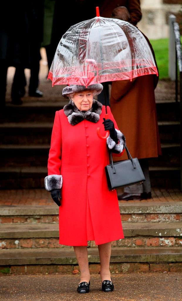 At the Christmas Day church service at Sandringham is The Queen