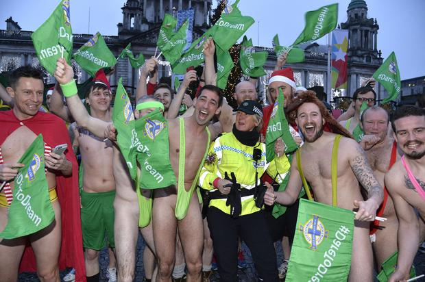 Colin Murray and the gang during the Belfast mankini run. Photograph: Stephen Hamilton/Presseye