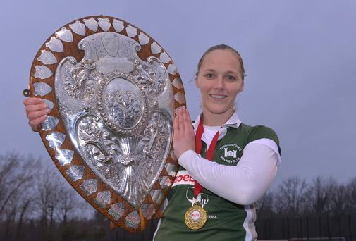 Shield of dreams: Randalstown captain Shelley Black gets her hands on the Denman Ulster Shield after victory over Queen's