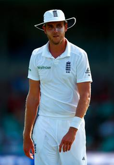Stuart Broad took three wickets for England yesterday